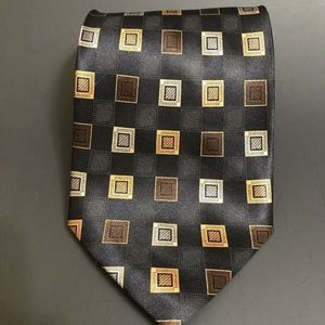 CROFT AND BARROW MENS NECKTIE SILK BLACK GOLD TIE